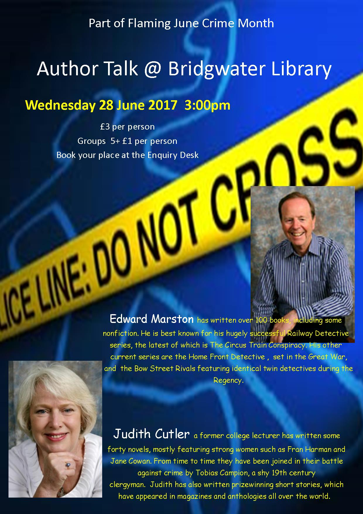 Crime Author Talk; Judith Cutler & Edward Marston!
