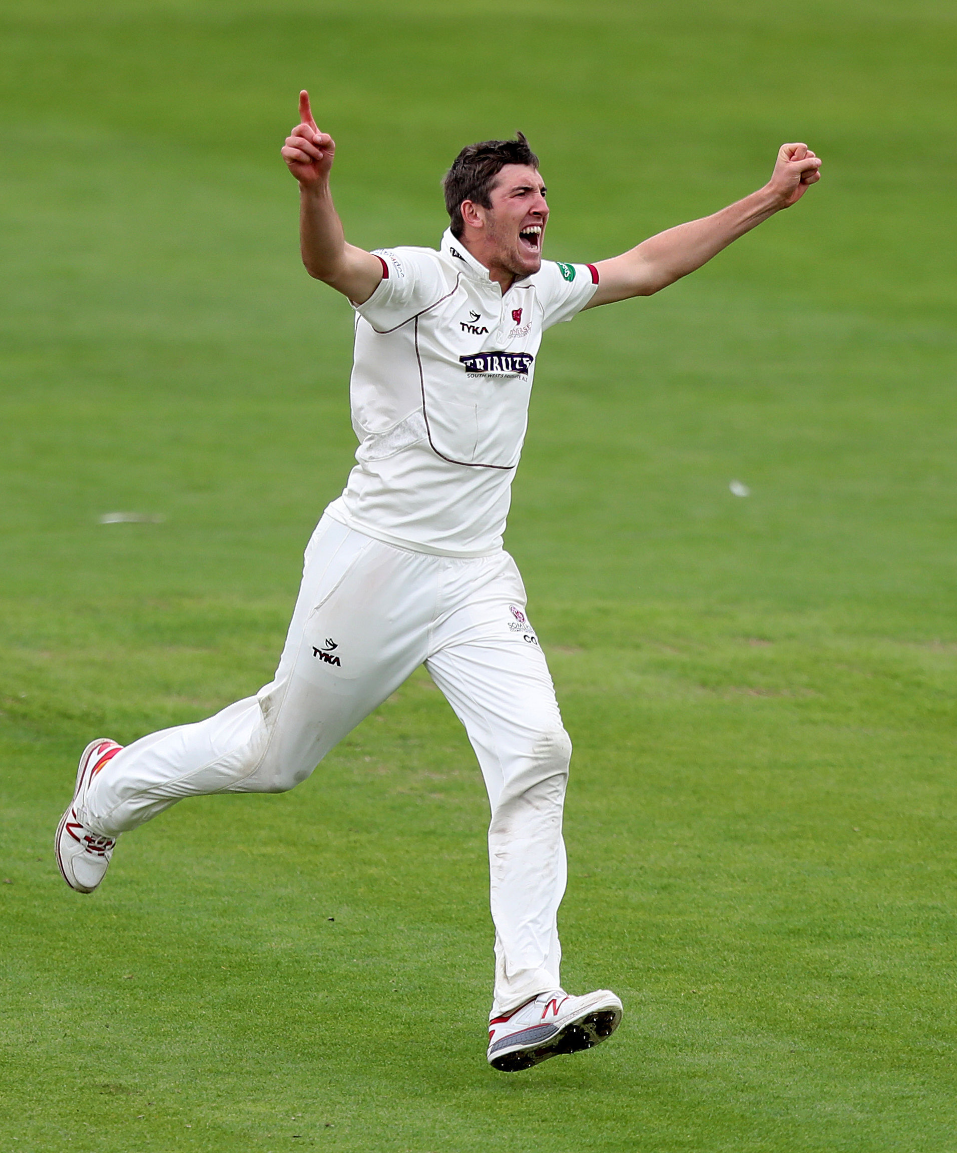 DELIGHT: Somerset rejoices as Craig Overton finally represents England, in the second Ashes Test. Pic: PA Wire