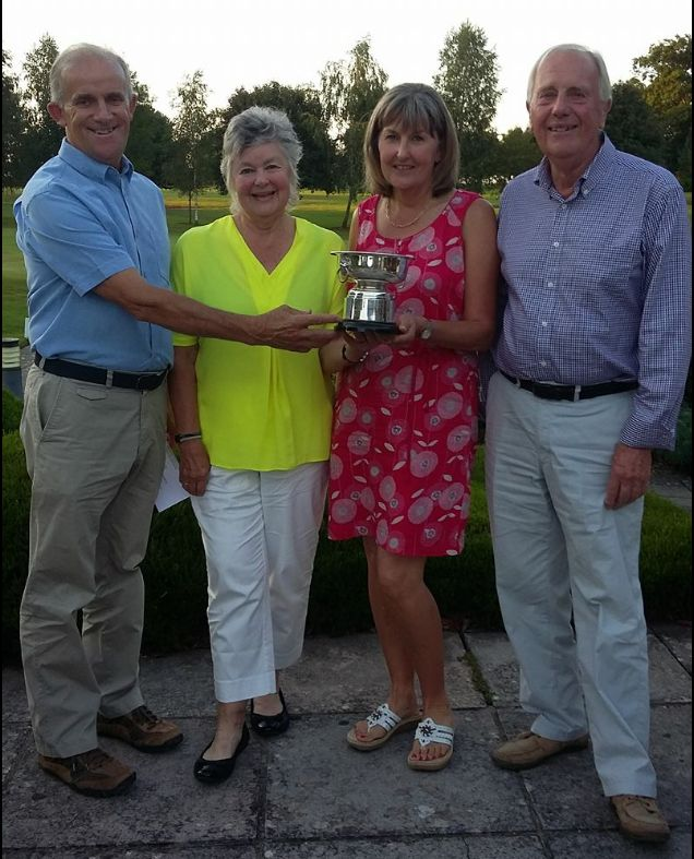 SUCCESS: Winners of the Mixed Jubilee Bowmaker at Enmore Park Golf Club - Alan Vickery, Annette Rigler (presenting the trophy), Julie Stafford, John Rigler.