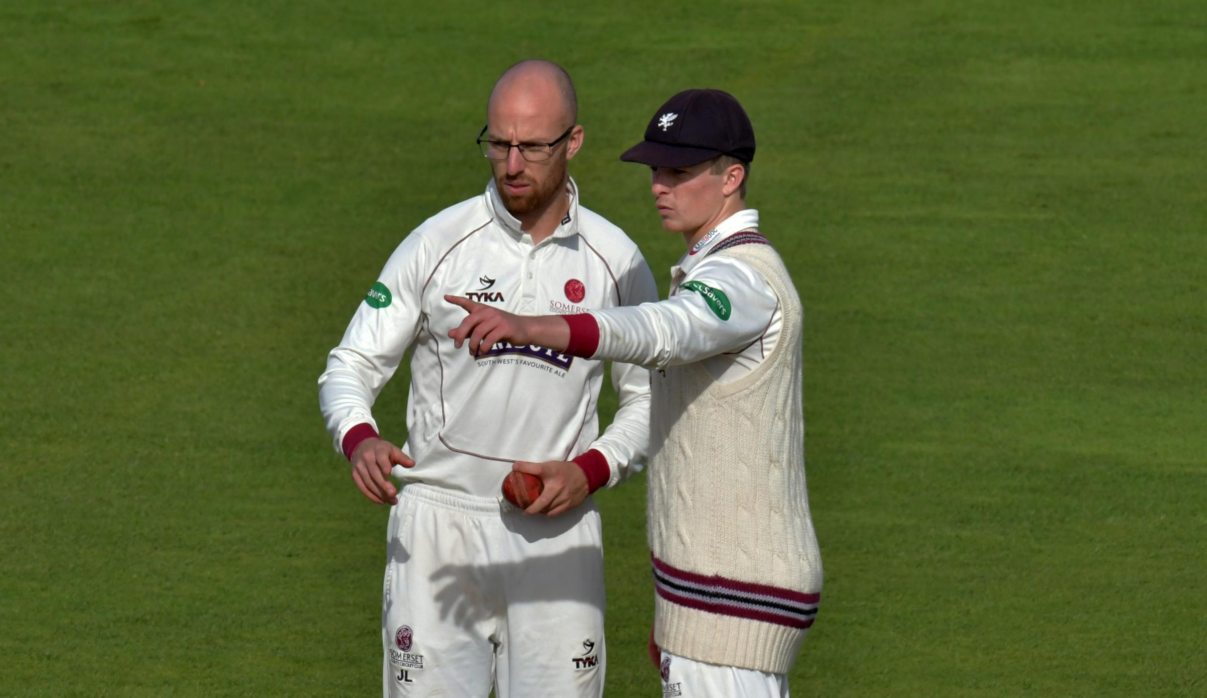 DELIGHT: Jack Leach (left) and Tom Abell have expressed their joy after Somerset secured their Division One status.