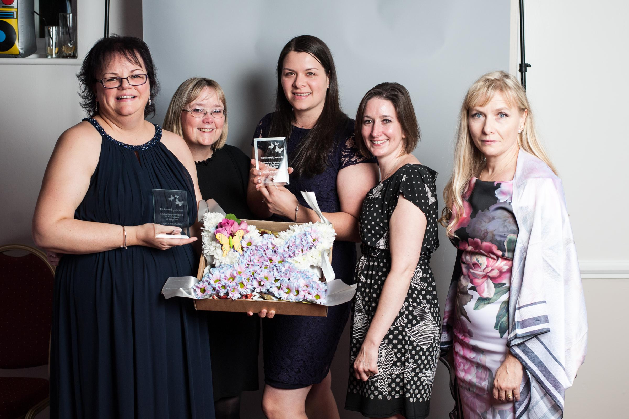 Keiley Tuck, Jane Grellier, Eleanor Cowling, Sara-Jane Connors and Tanya Brown, midwives at Musgrove. Picture: Sue Black Photography