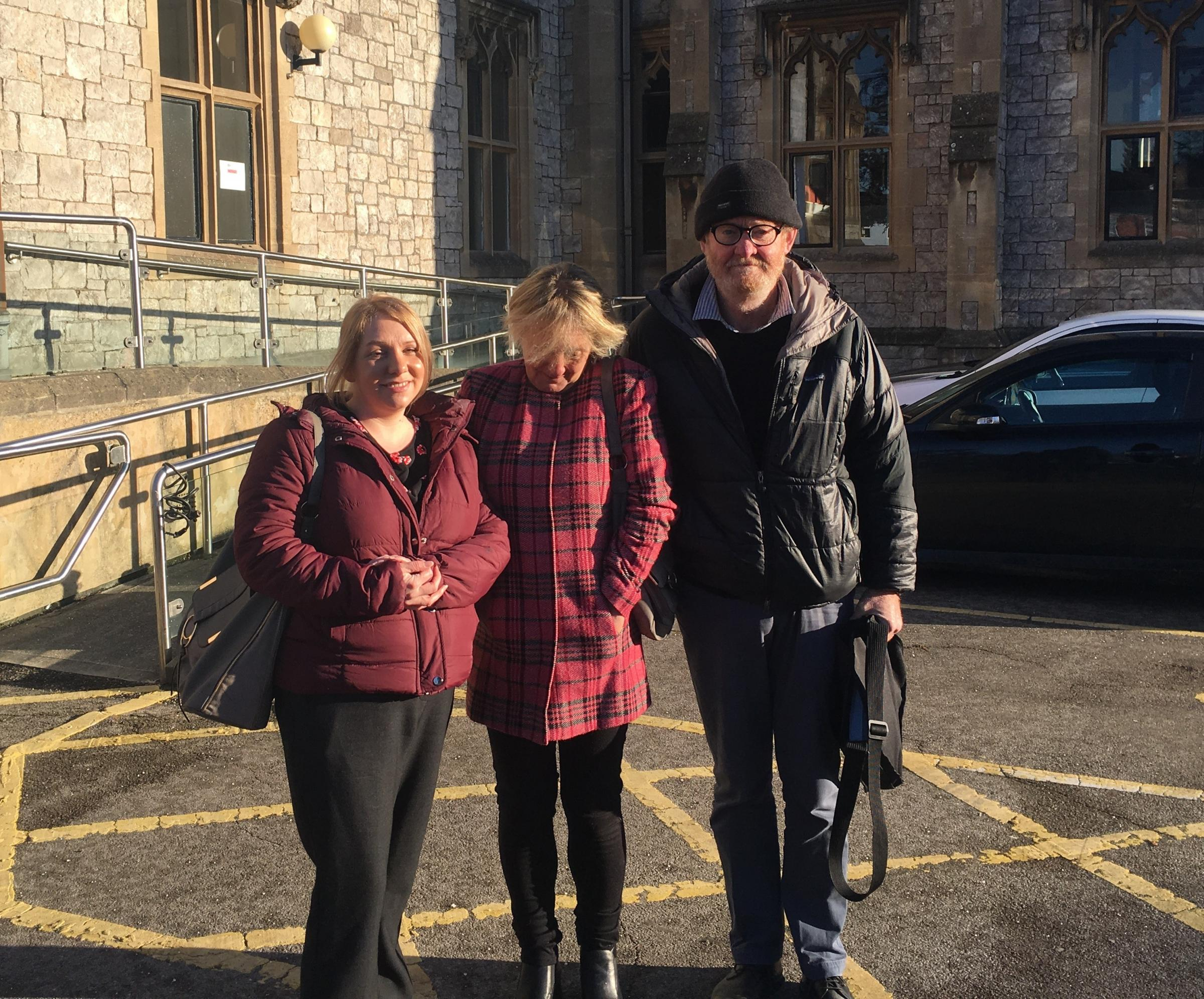 PETITION: Melissa Whittaker-Mather, Julie White and Phil Bayliss from Everybody on Board outside Shire Hall