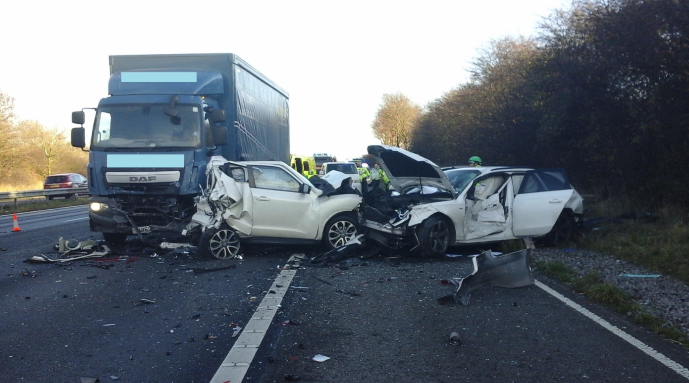 THESE images show the devastation caused by a crash between three cars and a lorry on the M5 this morning.
