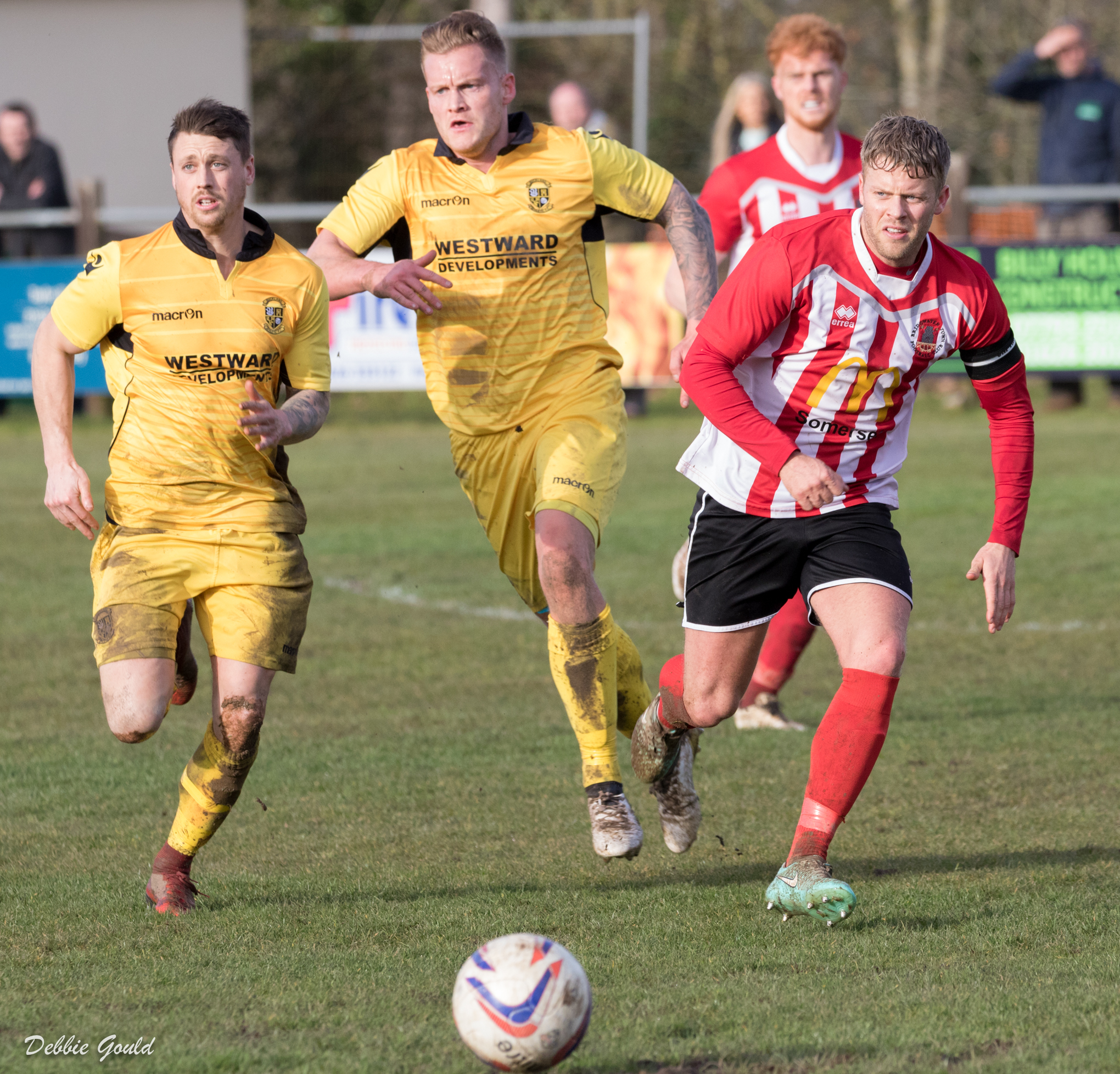 SKIPPER: Bridgwater Town captain Kurt Robinson in action at Buckland Athletic on Saturday. Pic: Debbie Gould