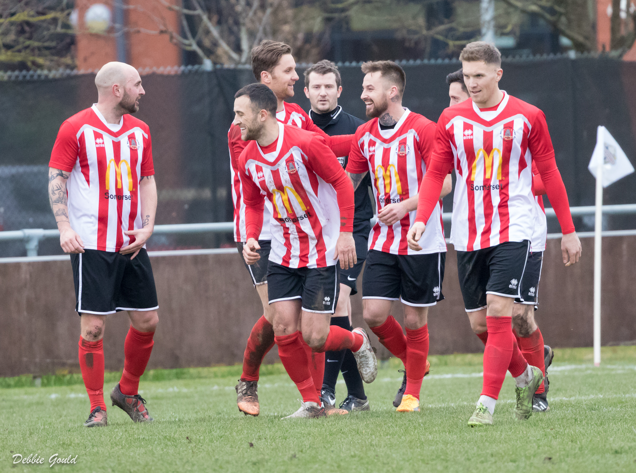 ALL SMILES: Bridgwater Town rounded off their home league season with a late win over Cadbury Heath. Pic: Debbie Gould