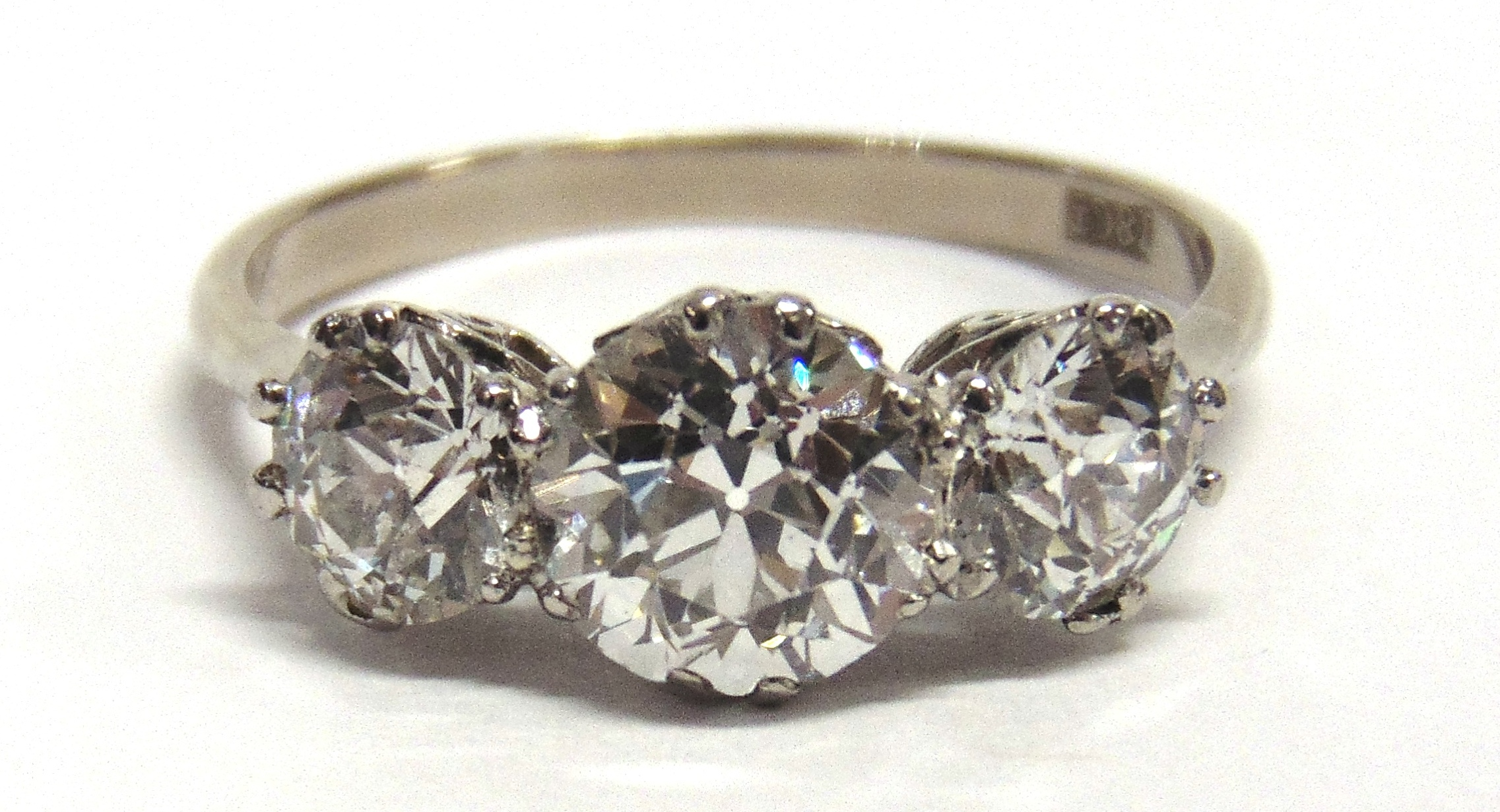 DIAMONDS: This 18ct white gold three stone diamond ring was bought for £5,200 at Greenslade Taylor Hunt's May sale