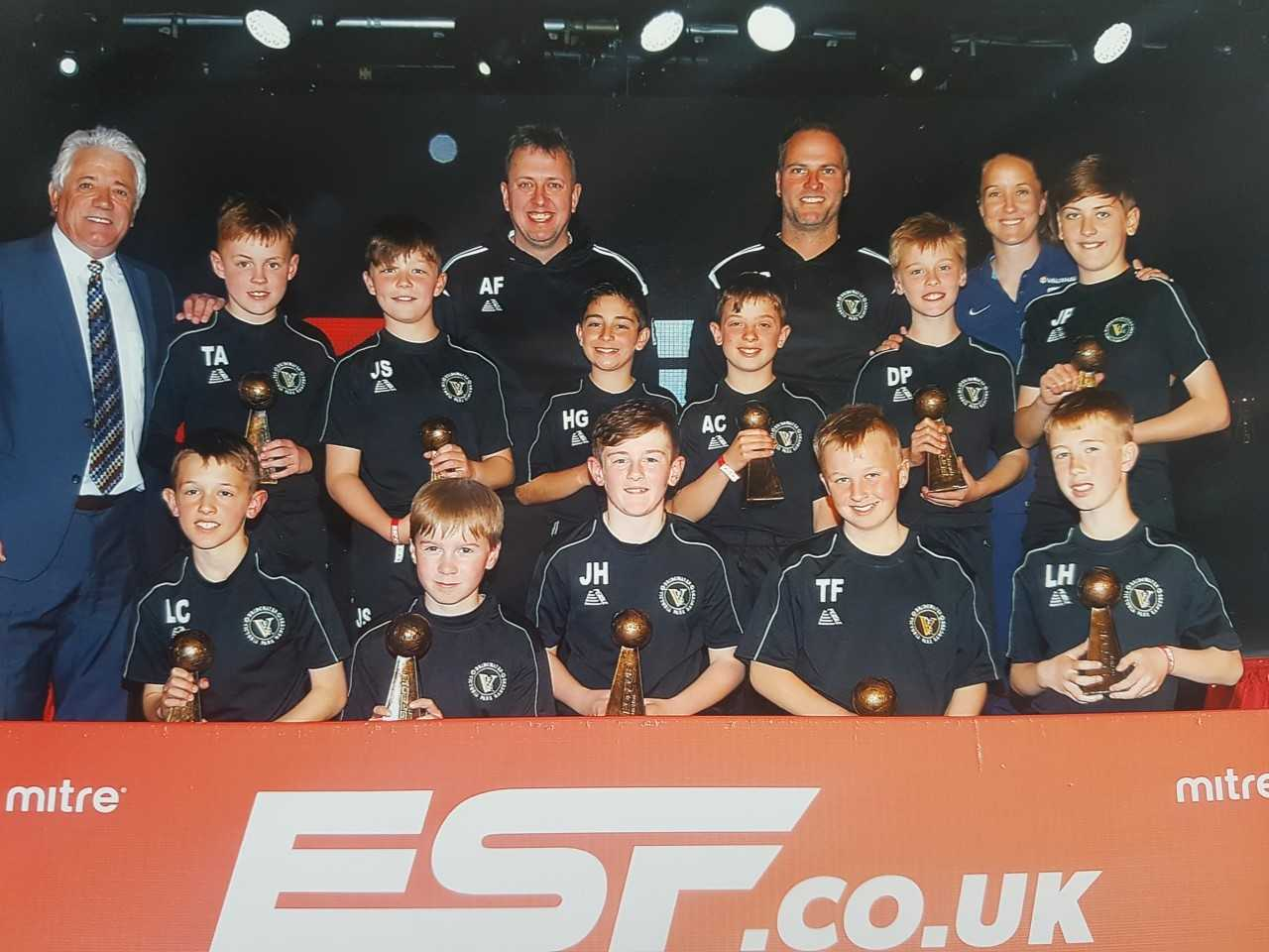 LEGENDS: Kevin Keegan (left) and Casey Stoney (second from right, top) with Bridgwater Victoria Park Rangers