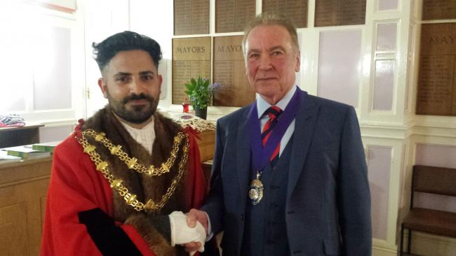 HONOUR: The new mayor Cllr Diogo Rodrigues with deputy mayor Cllr Tony Heywood