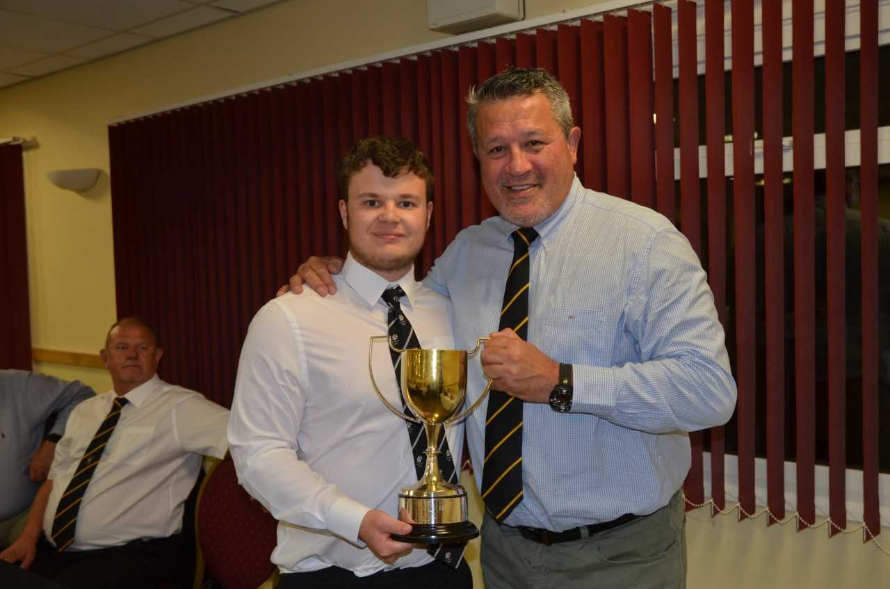 LEGEND: Zinzan Brooke (right) with North Petherton RFC Colt of the Year, Sam Villis