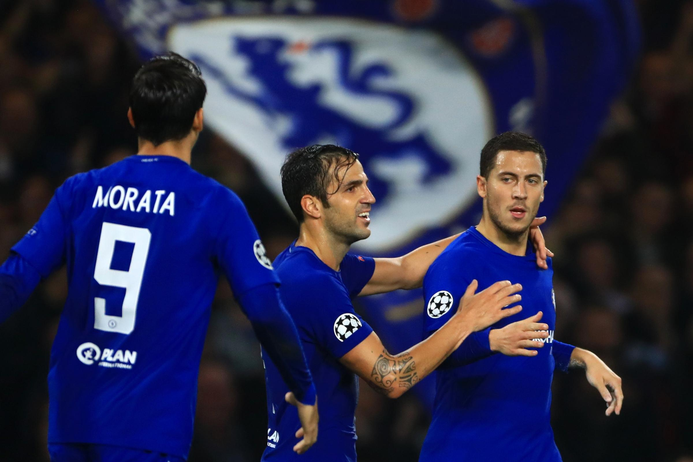 Eden Hazard (right) can be 'unstoppable' on his day, Chelsea team-mate Cesc Fabregas (centre) says (Tim Goode/PA Images)
