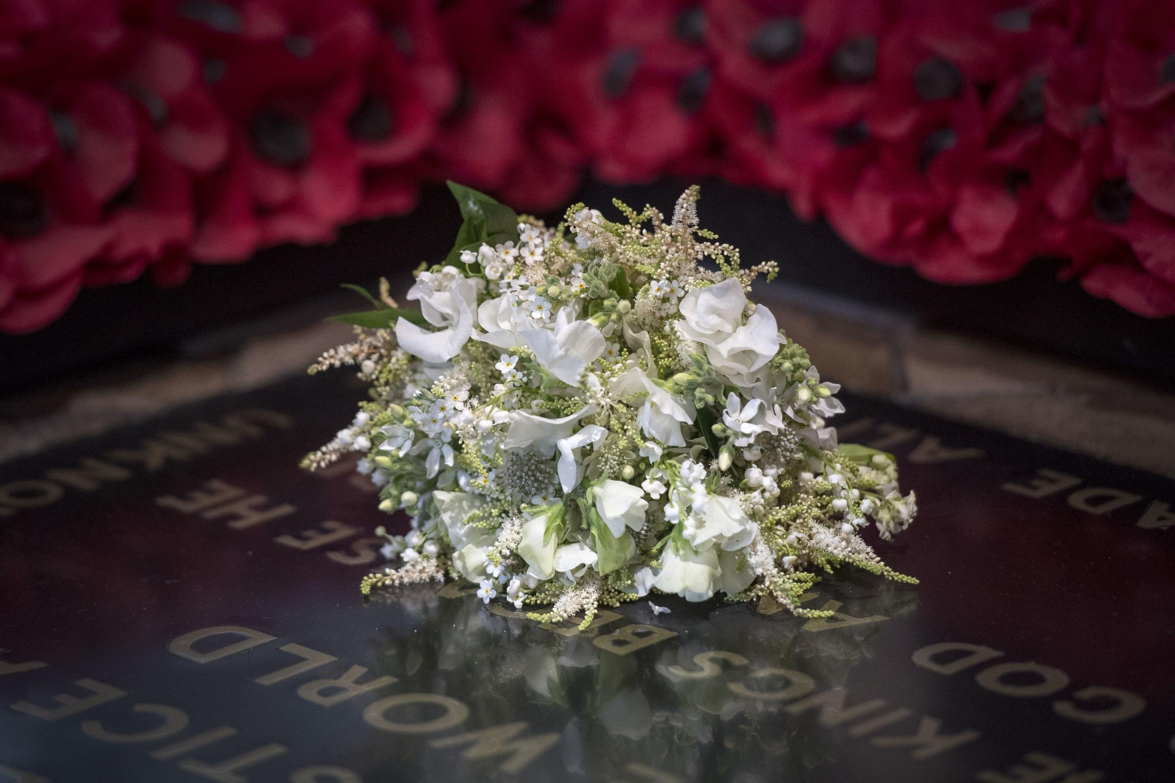Meghan Markle's wedding bouquet is laid on the grave of the Unknown Warrior (Victoria Jones/PA)