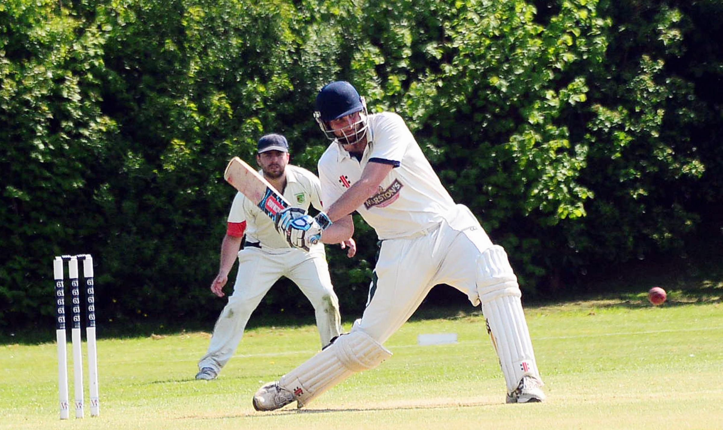 HITTING OUT: Wembdon captain Jonathan Brockwell on his way to 85 against North Petherton.