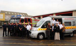 The new fire and emergency van is unveiled at Bridgwater Fire Station with members of Green Watch and the Red Cross.