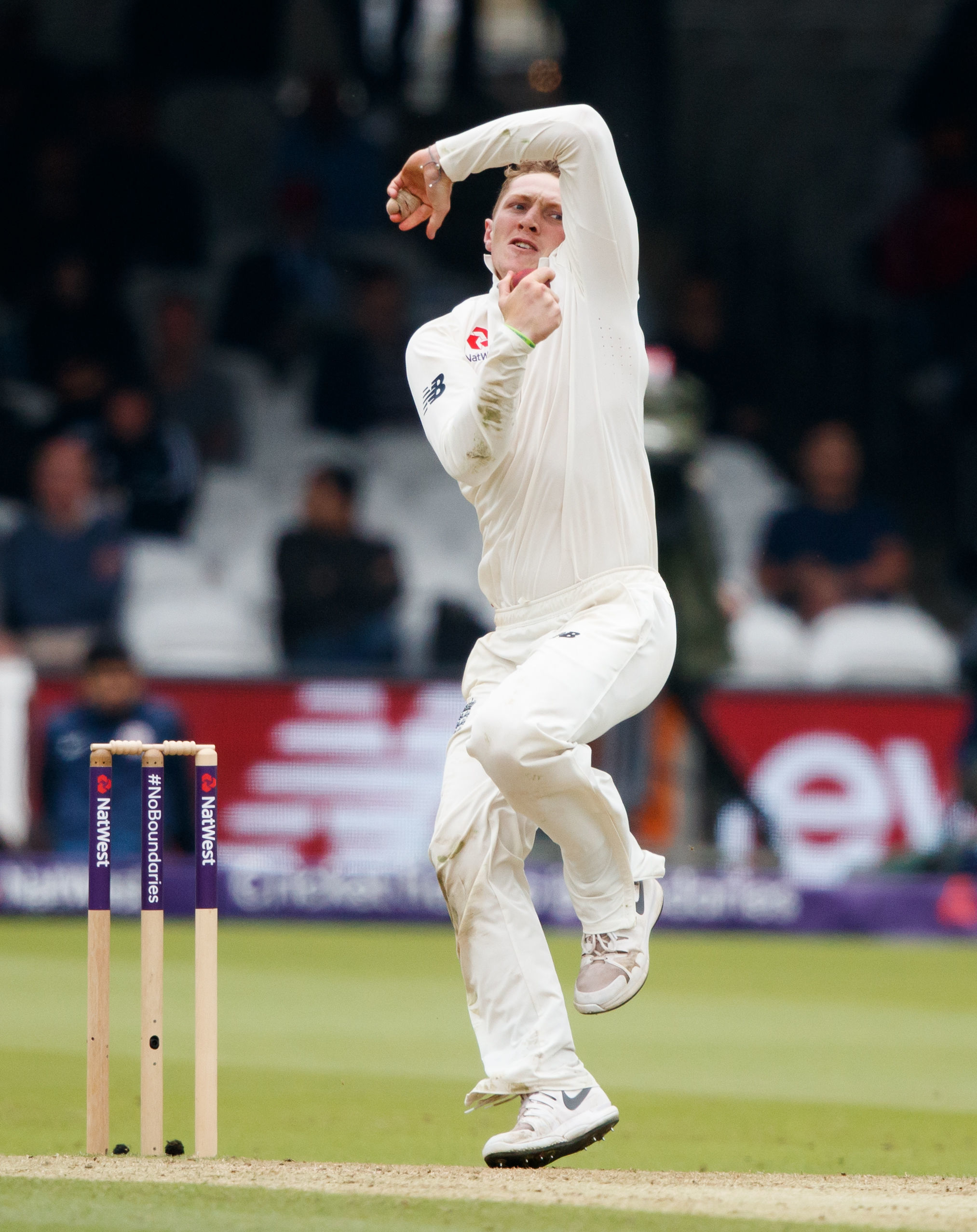 ACTION: Dom Bess bowls on day two of England v Pakistan at Lord's. Pic: PA Wire