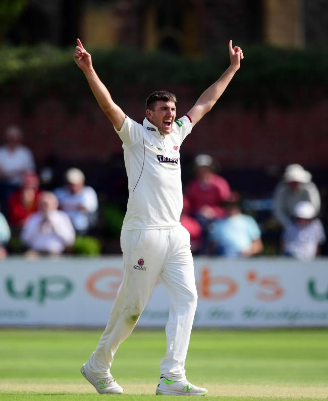 PATIENT: Craig Overton claimed two wickets on a tough first day for Somerset's bowlers at Edgbaston. Pic: SCCC