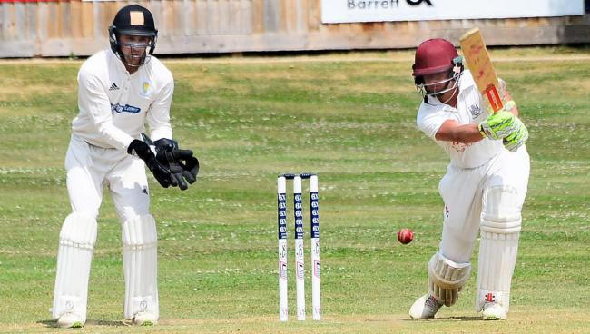 CENTURY: Will Smeed drives through the off-side during his fine innings against Taunton St Andrew's.
