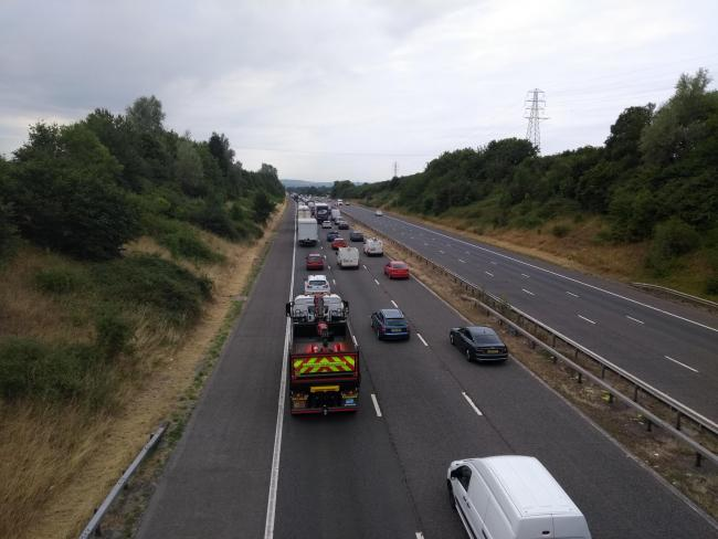 Queuing traffic on M5 northbond following earlier police incident