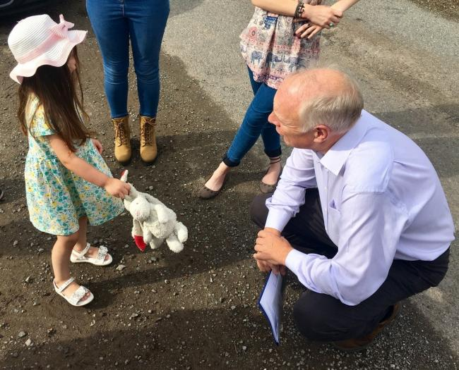 APPEAL: Four-year-old Elise Stanbury explains her concerns to MP Ian Liddell-Grainger