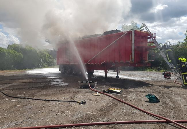 DAMAGE: The fire sent up plumes of smoke which could be seen on the A39