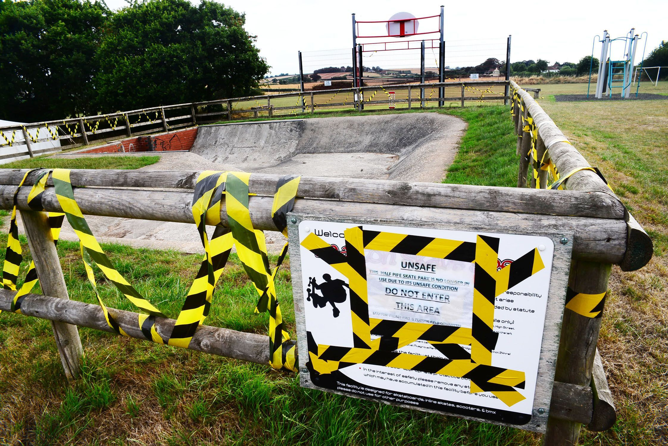 DANGER: The skate park has been cordoned off