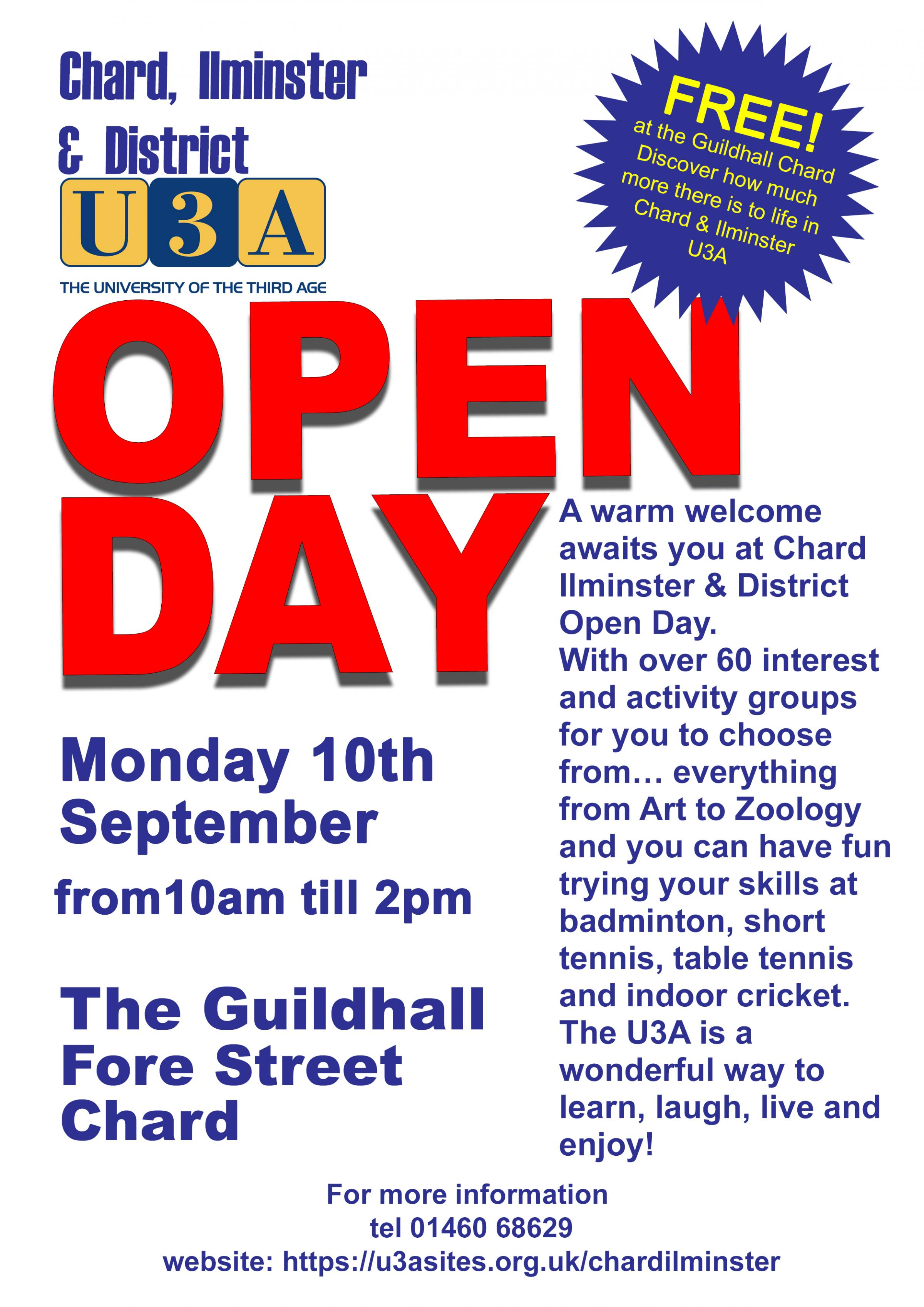 OPEN DAY CHARD & ILMINSTER U3A