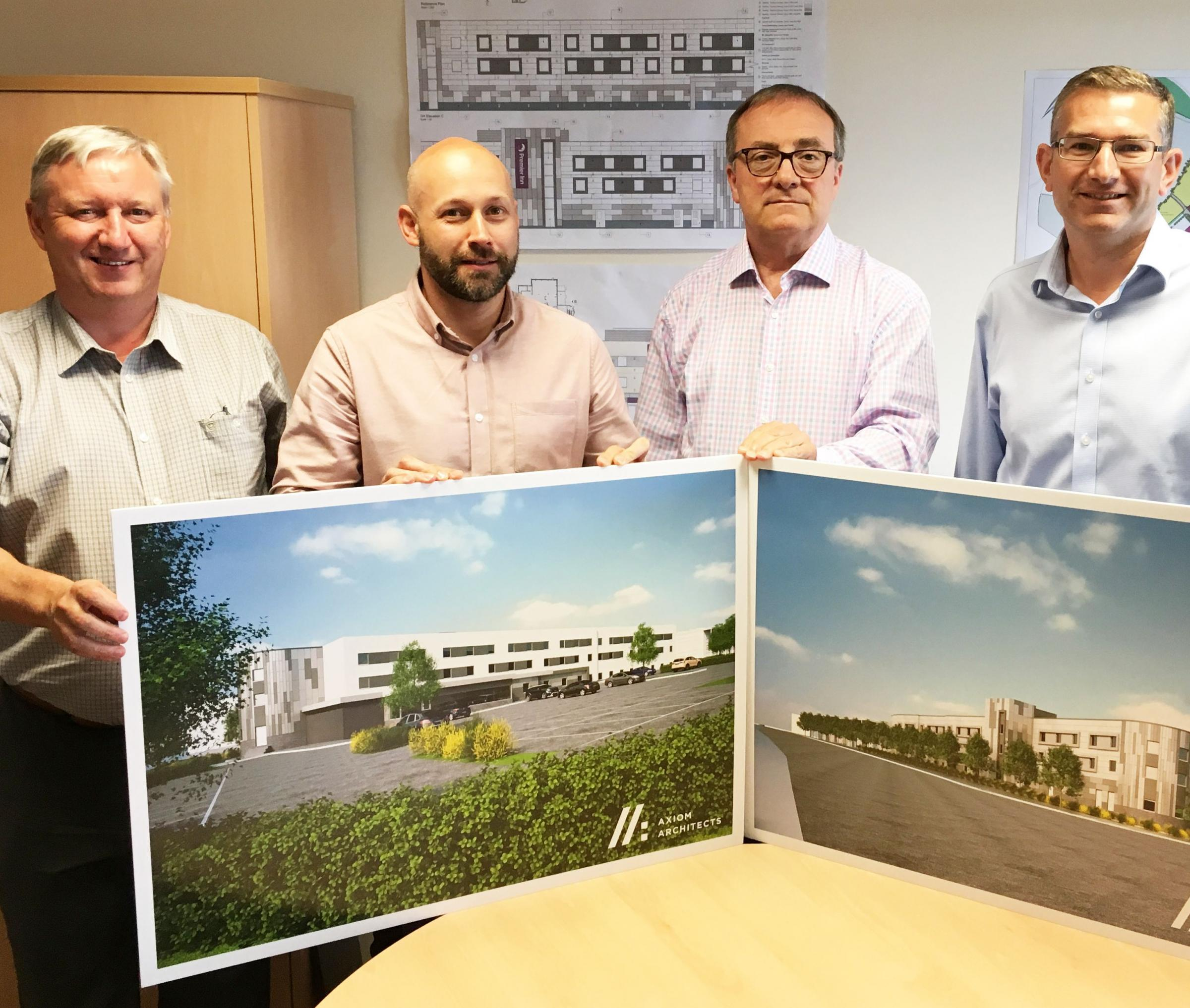 PARTNERSHIP: Left to right - Simon Taylor, contracts manager, Carter Lauren Construction; Tim Luke, senior quantity surveyor at Carter Lauren Construction; Geoff Revell, Asset Manager, Bridgwater Gateway; Phil Wade, Development Manager, Bridgwater Gateway