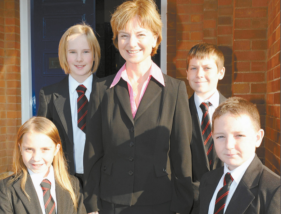 NEW HEAD: Karen Canham with pupils at Haygrove School