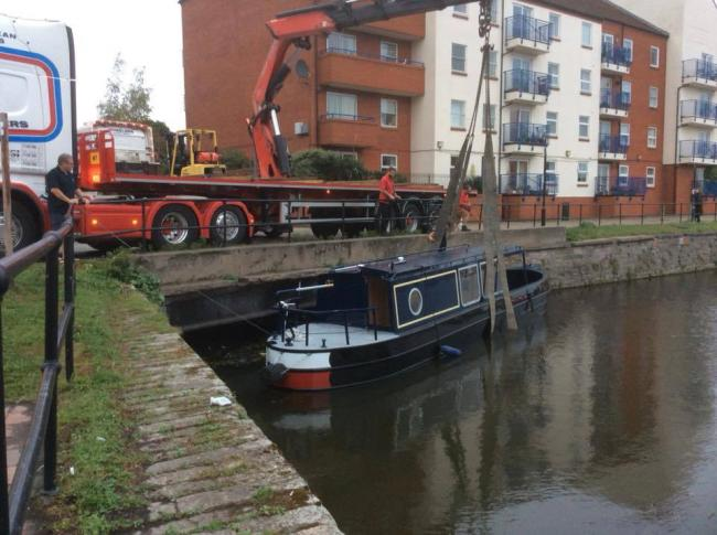 NARROWBOAT: The 38ft SomerSun arrives at Bridgwater Docks on Wednesday evening