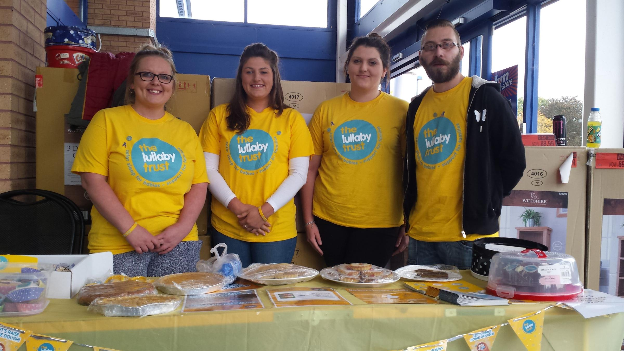 RAISING AWARENESS: (Right to left) Brad Cooper and Ruth Orchard with Ruth's sister Rachel and family friend Gemma Boycott at the B&M bake sale