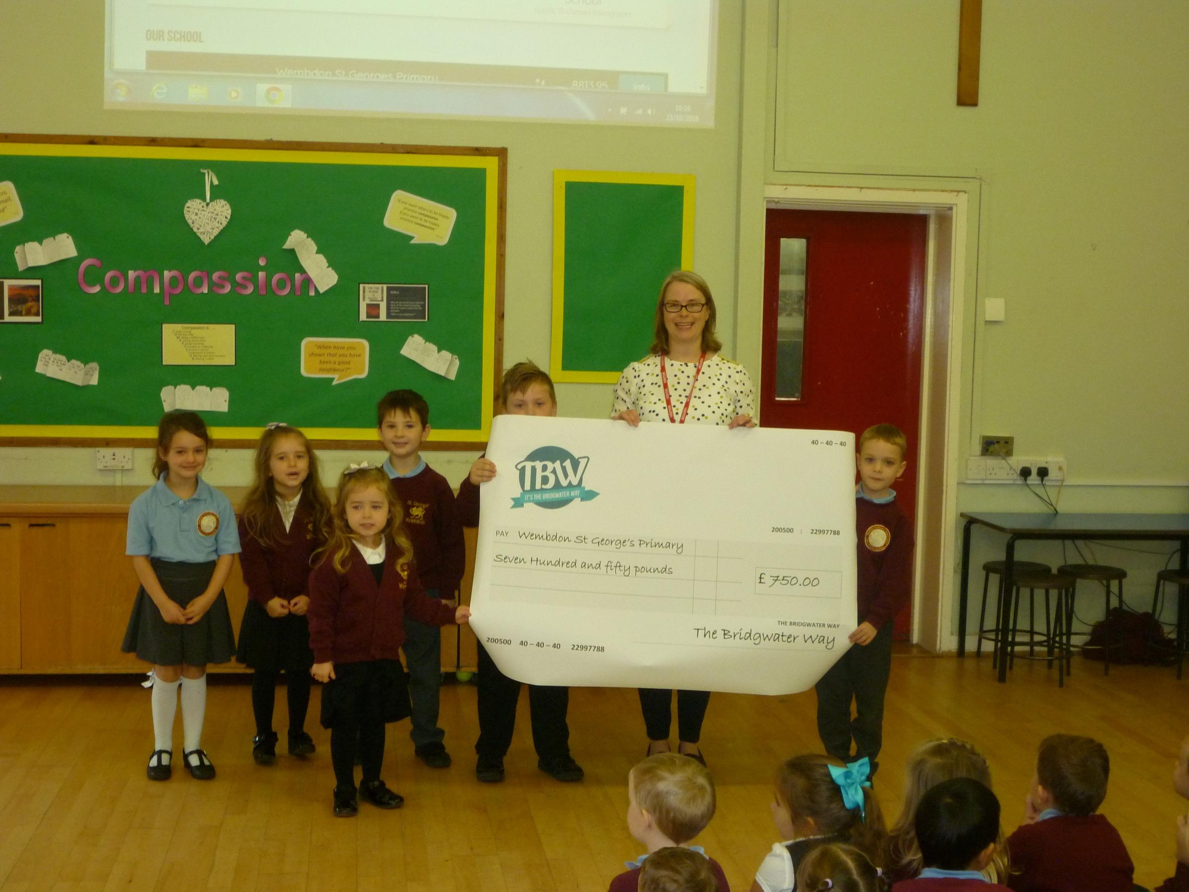 DELIGHTED: Wembdon St George's Church School won a Bridgwater Way challenge encouraging a reduction in car use to travel to school
