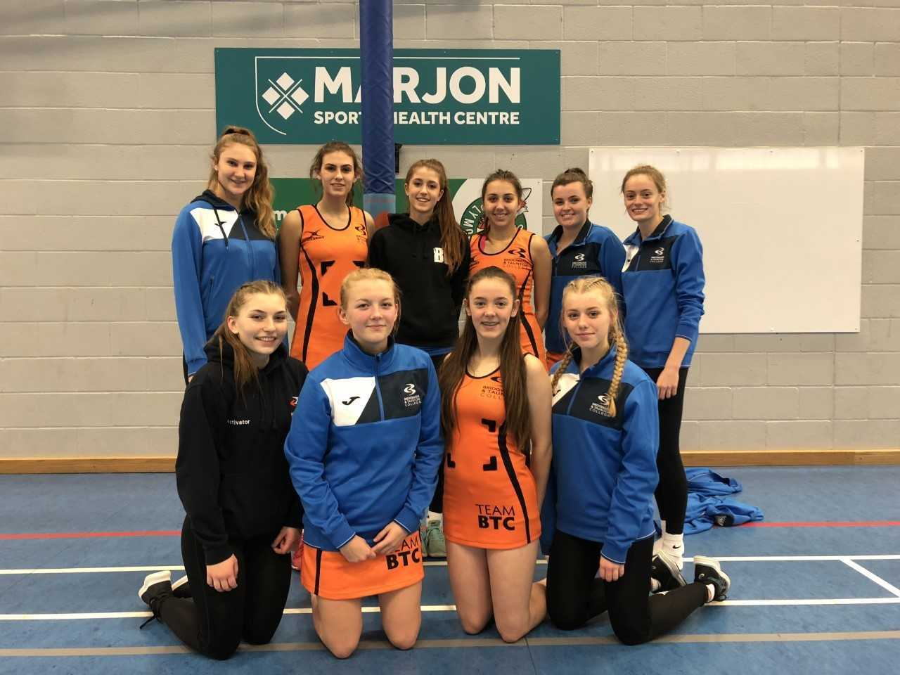 Team BTC netball at AoC Regional Championships: back row, from left - Maddie Kennard, Sophie Bond, Emily Rossiter, Olivia Handle, Jess Bull, Tilly Milburn; front row - Hannah Stephens, Katie Harris, Georgina Goodwin, Katie Bailiss.