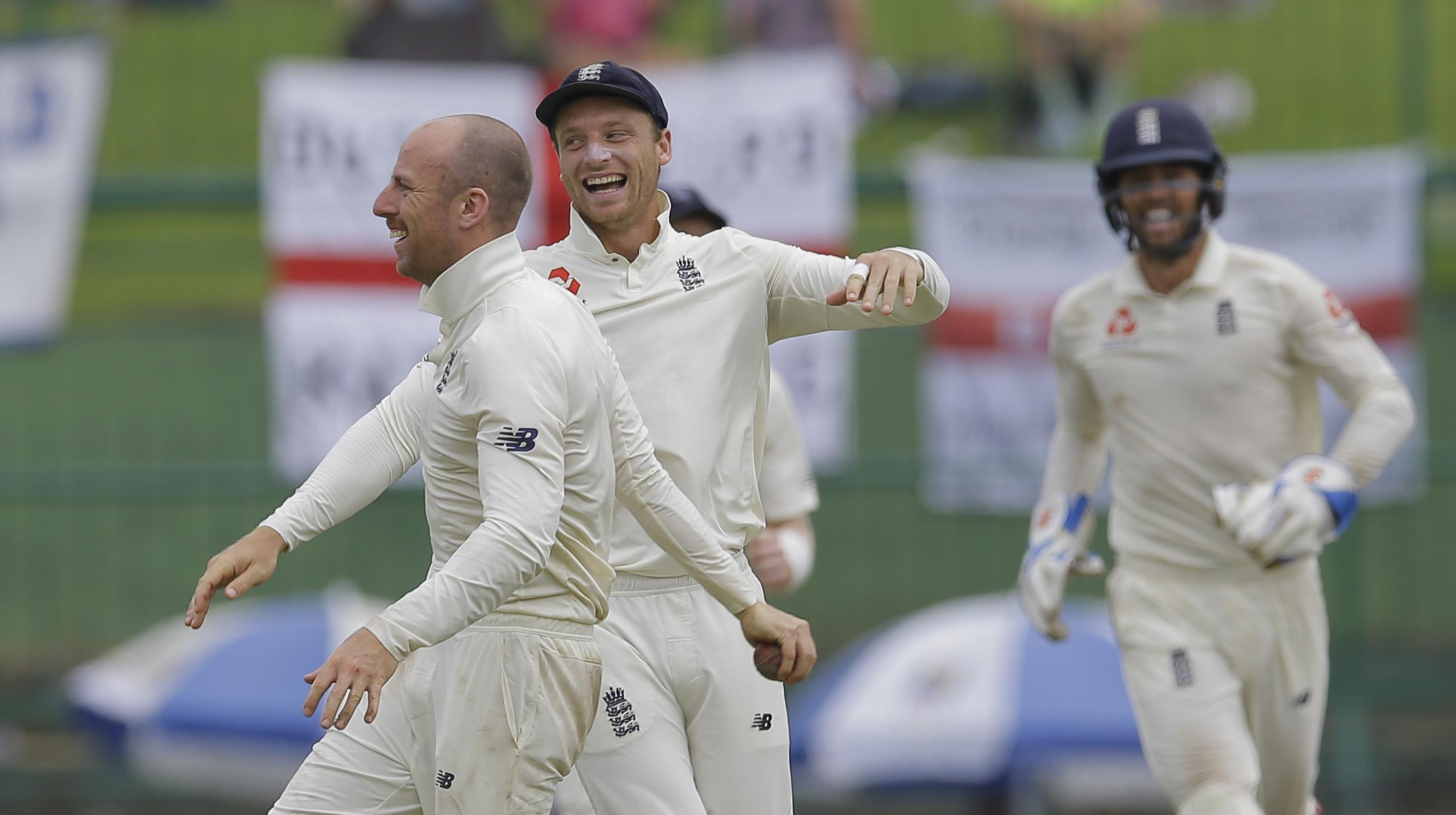 MATCH-WINNER: Jack Leach completed England's series win over Sri Lanka. Pic: AP Photo/Eranga Jayawardena