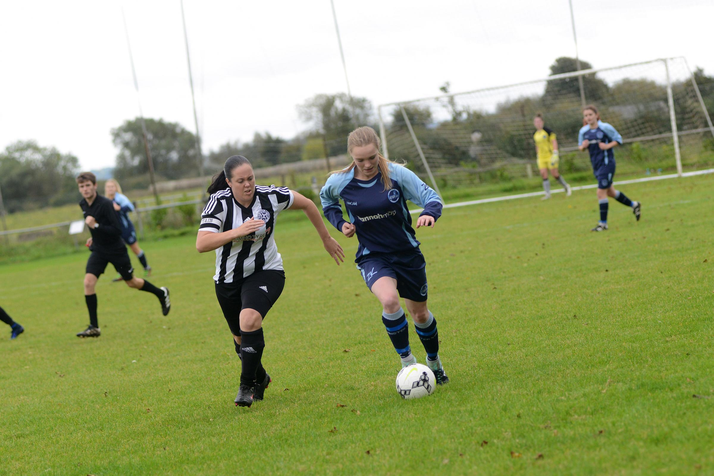 BRACE: Georgia Coles (left) scored twice for Middlezoy Rovers Ladies against Downend Flyers Women. Pic: Ash Magill