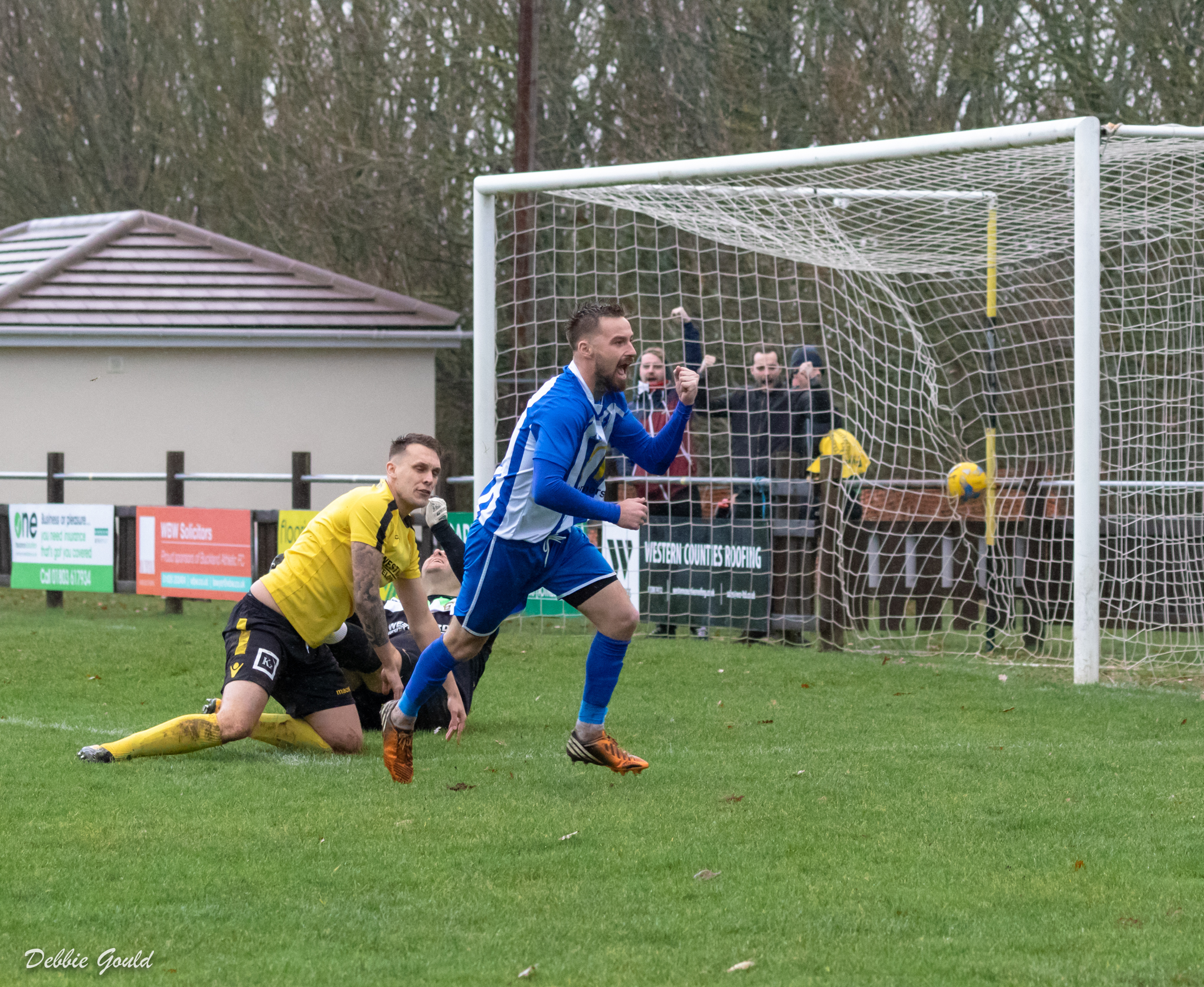 GOAL: Jack Taylor celebrates opening the scoring for Bridgwater Town at Buckland. Pic: Debbie Gould
