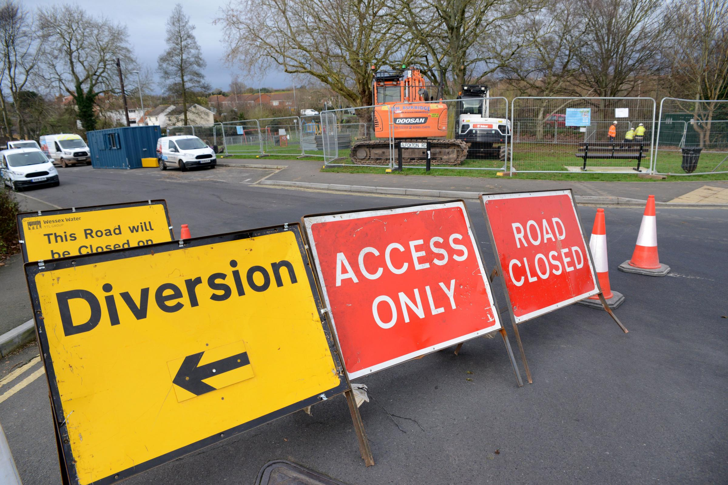 DISRUPTION: Alfoxton Road will be closed until May 24 while Wessex Water carry out work on a new sewer