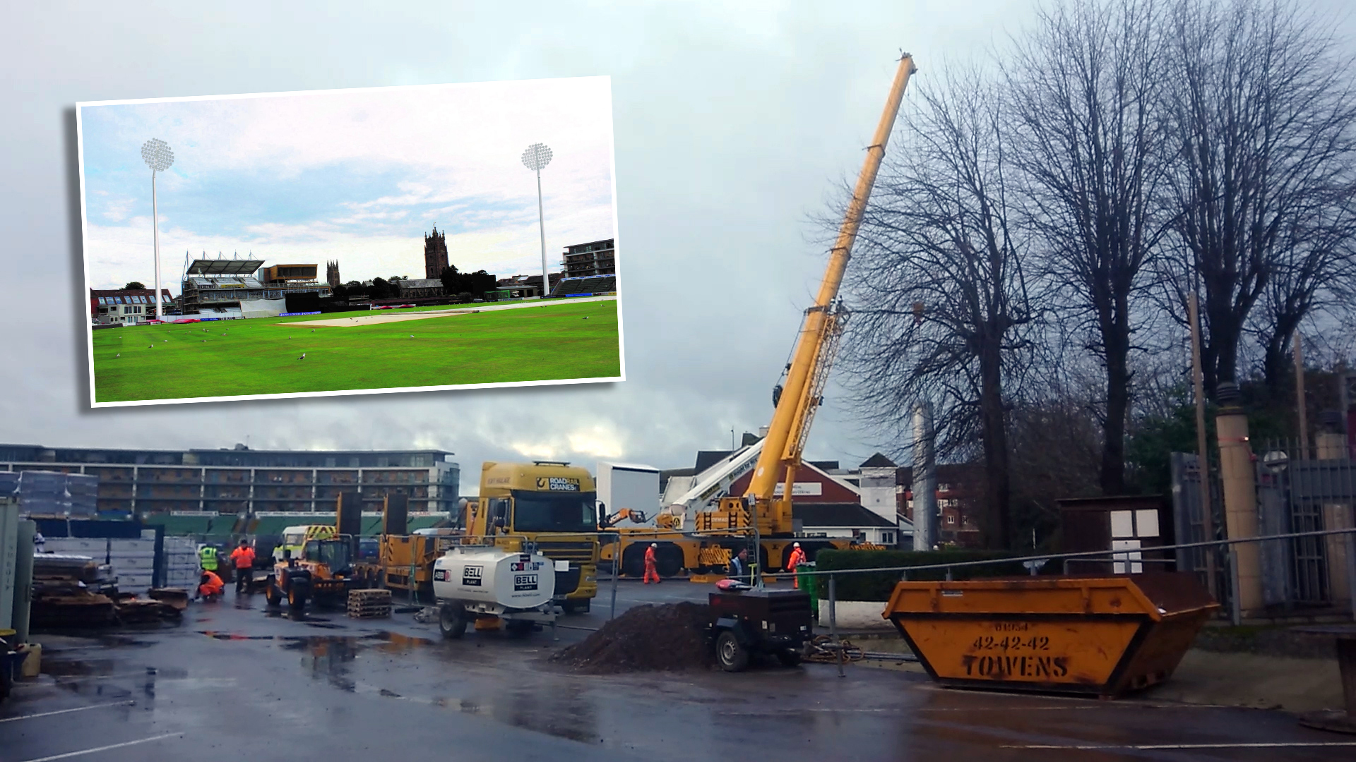 CLOSED: Car parks at Somerset County Cricket Club will shut while floodlights are installed
