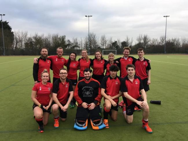 Bridgwater Hockey Club mixed team (from left): back row - Lee Chorley, Will Pope, Sapphy Reed-Yang, Charlotte East, Becca Tasker, Sue Chaplin, Paul Tilley, Tom Stacey; front row - Lucy Burridge, Rob Morrish, Brandon Durkin, Lewis Coad, Duncan Morrish