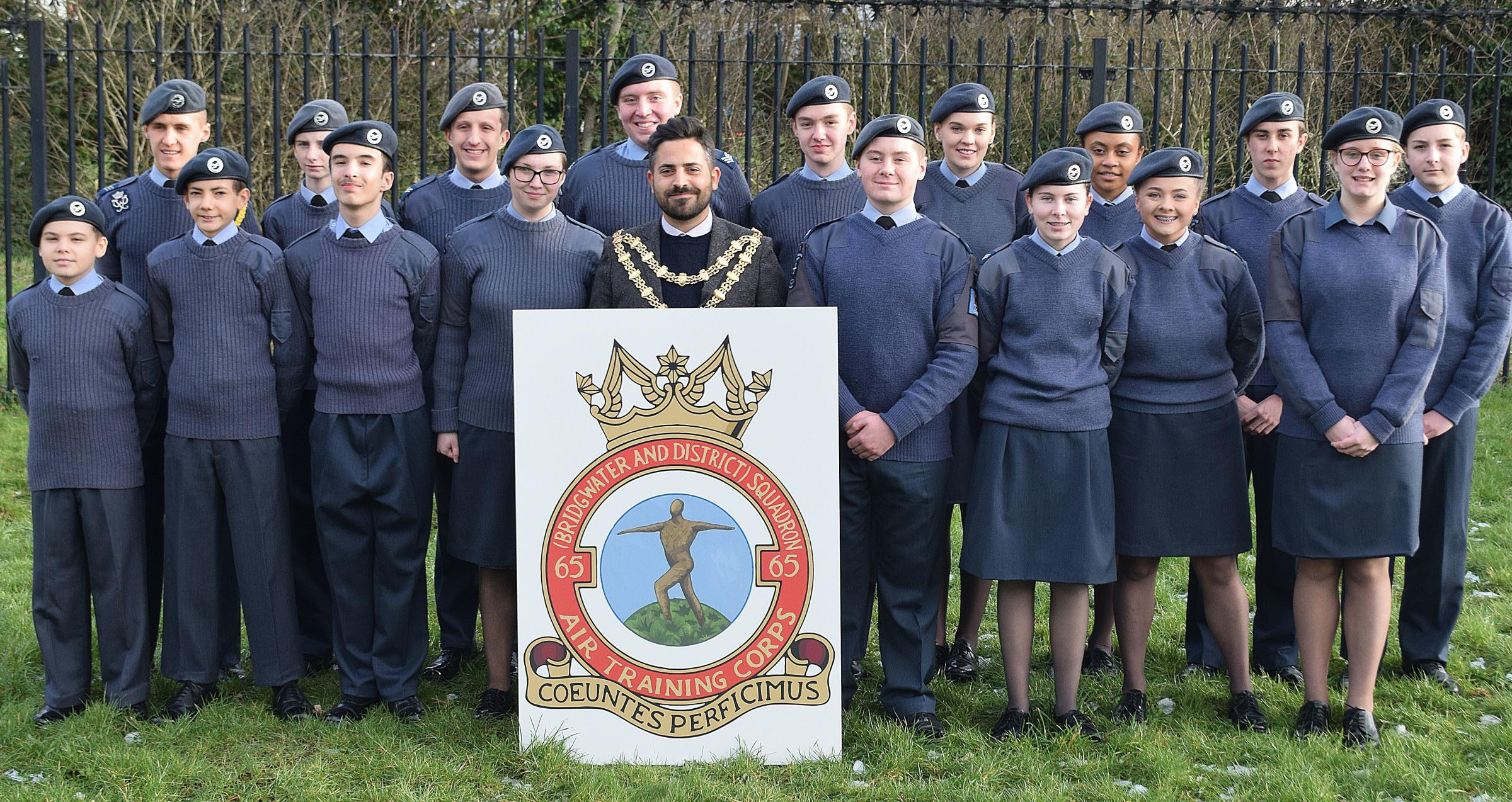 PRIDE: Mayor of Bridgwater Cllr Diogo Rodrigues with Bridgwater Air Cadets