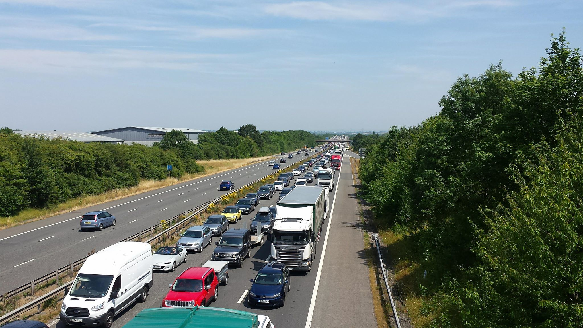 DELAYS: A generic picture of traffic stopped on M5 for a crash