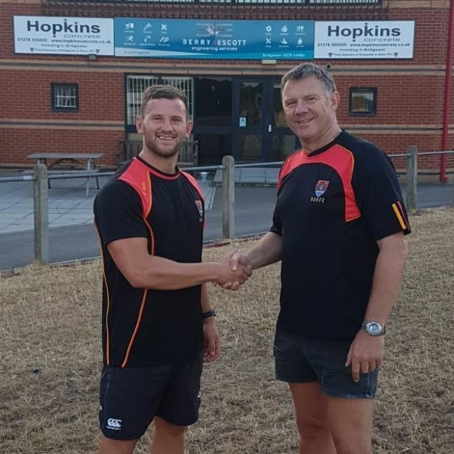 TRY: Richard Bright (pictured left, with director of rugby Geoff Sluman) scored for Bridgwater & Albion on Saturday