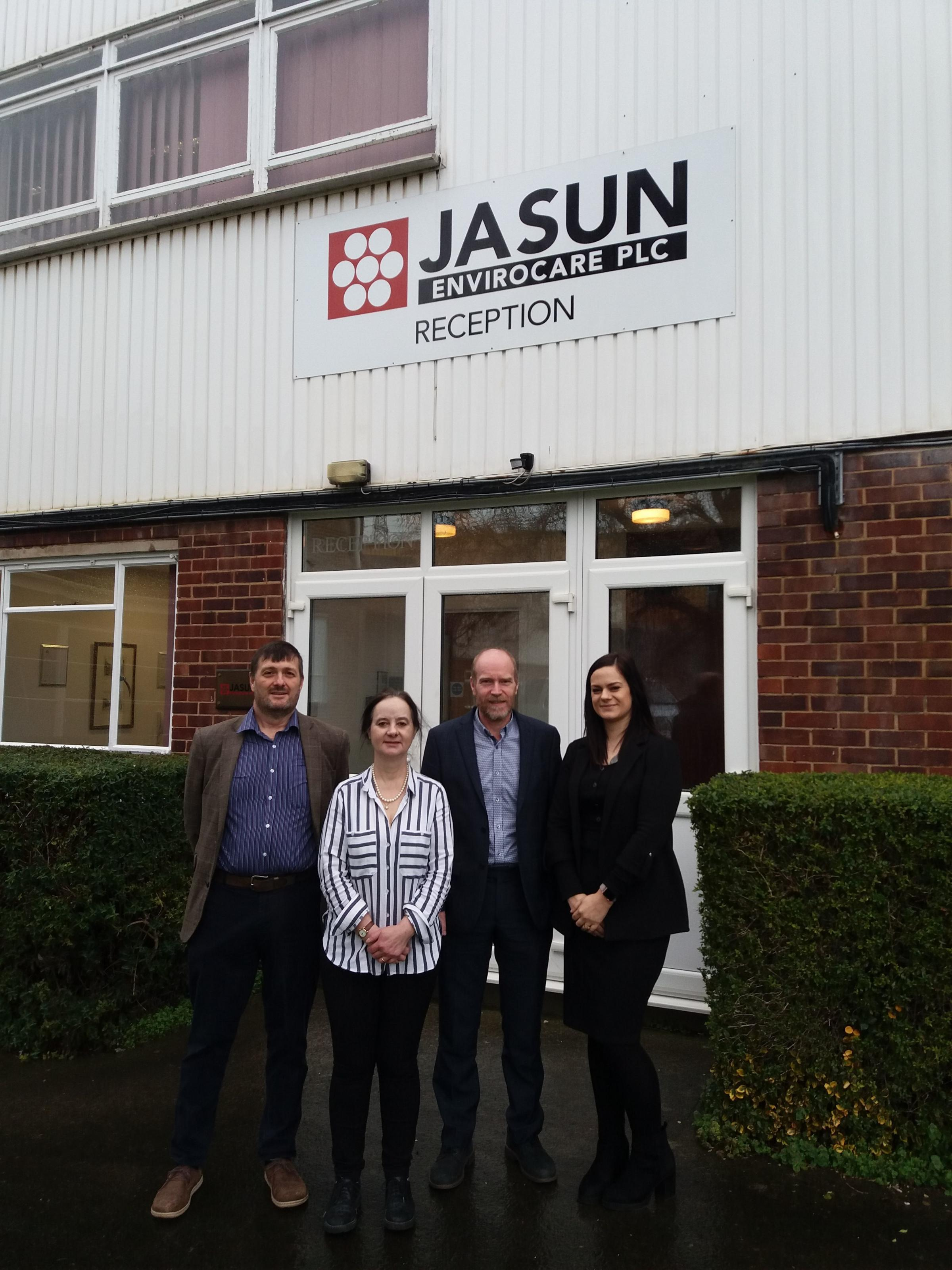 THRIVING: Directors Colin Hitch, Jane and Graham Bentley, and marketing assistant Eloise Day at Jasun Environcare HQ