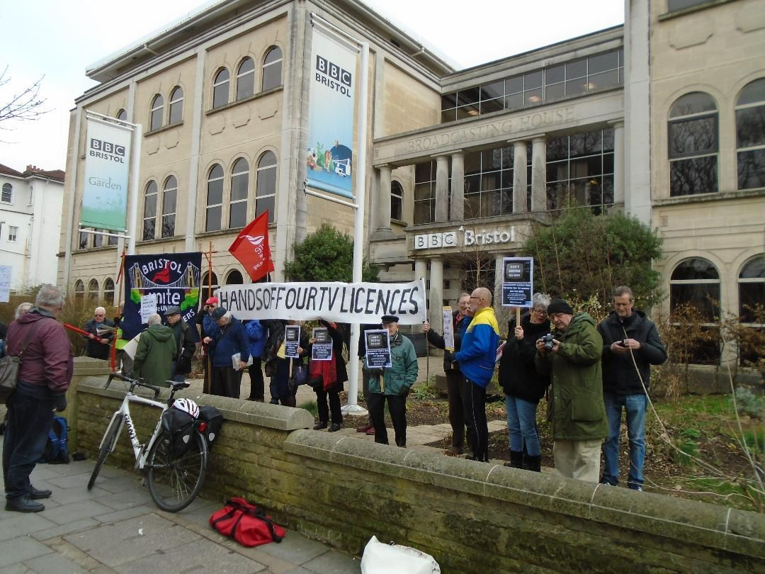 PROTEST: National Pensioners Convention demonstrate outside the Bristol BBC studios