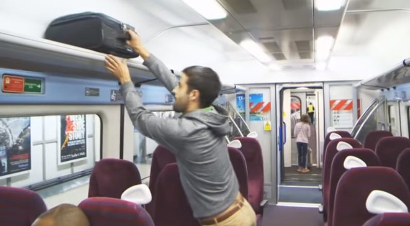 THEFT ON TRAIN: British Transport Police image - posed by an actor