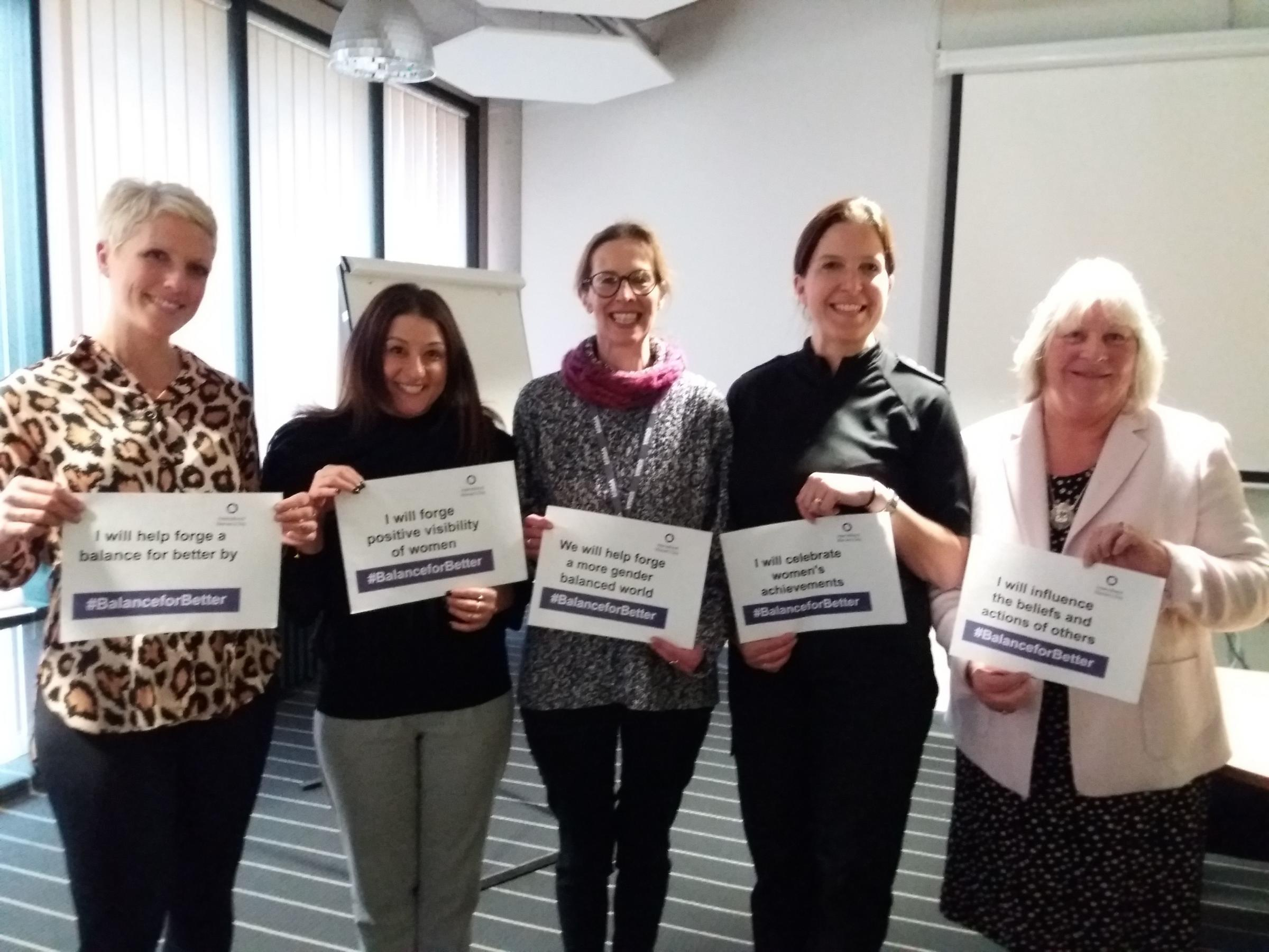 CELEBRATION: Hayley Blackman, Charlotte Joseph, Katie Newell, Lisa Simpson and Sandra Ford at the Bridgwater YMCA International Women's Day event