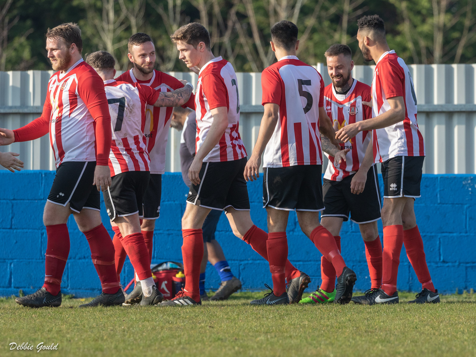 LETHAL: Jack Taylor (pictured second from right) celebrates scoring from Ian Bellinger's (third from left) cross. Pic: Debbie Gould