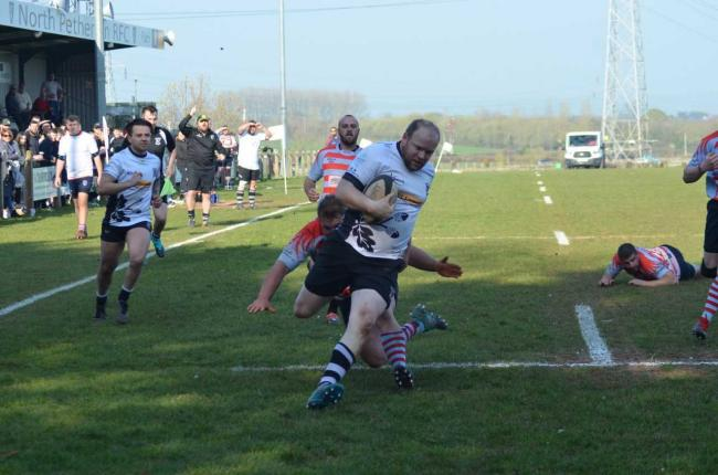 TRY TIME: Steve Potter scores for North Petherton 2nds against Cheddar Valley on Saturday. Pic: Chris Hancock
