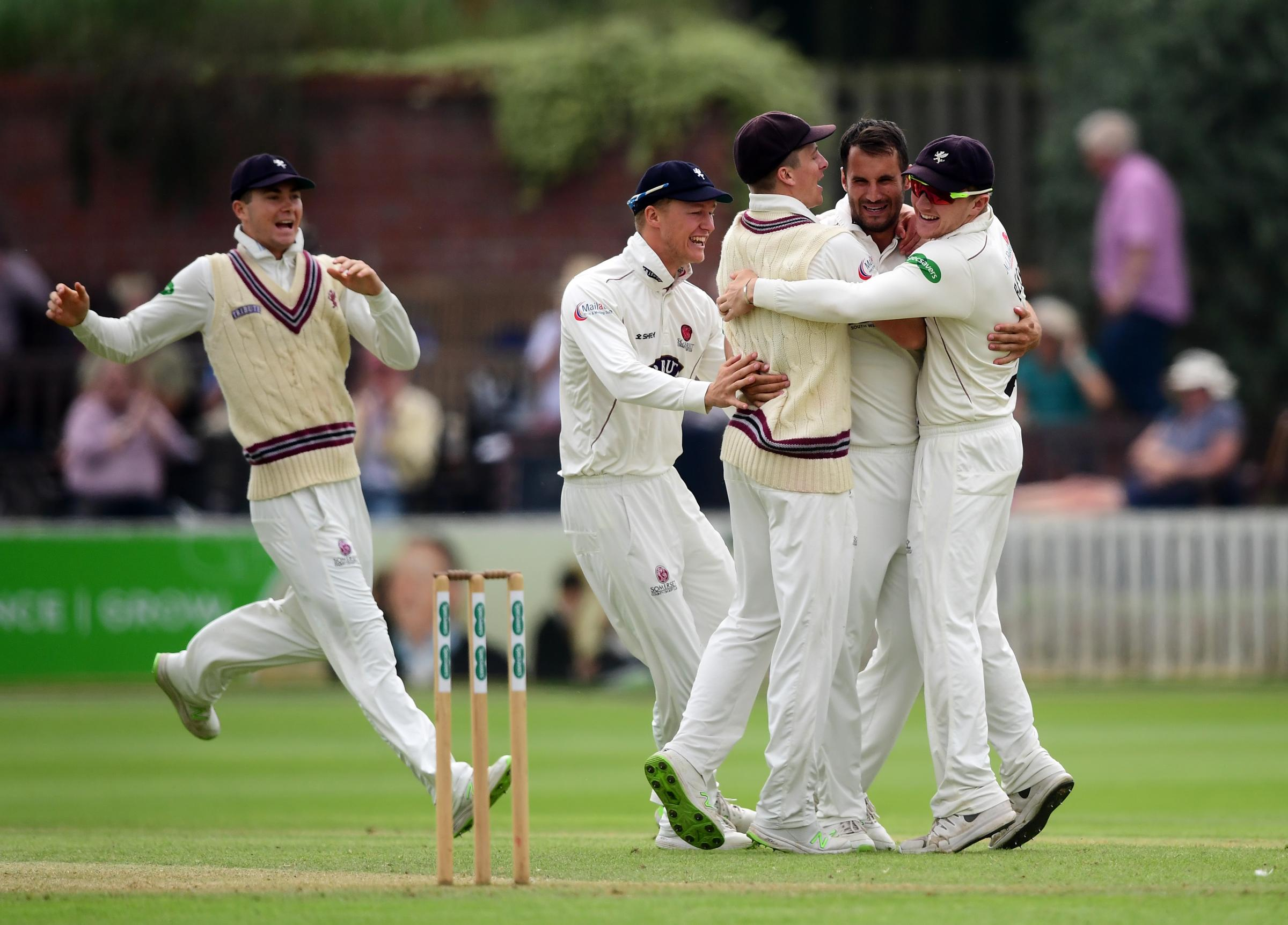 KEY ROLE: Lewis Gregory (pictured second from right) was on fire as Somerset beat Kent. Pic: SCCC