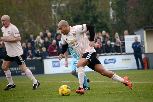 STAR: Danny Webber during a recent Man Utd Legends match against Taunton Town