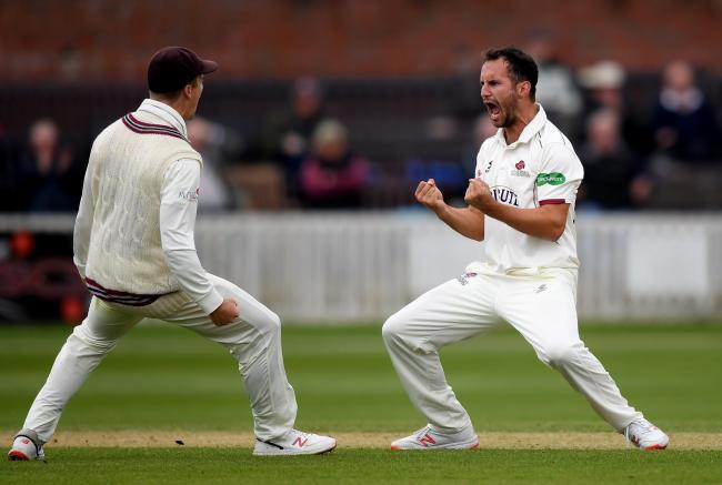 WELL BOWLED: Lewis Gregory celebrates a wicket en route to 5-18 against Kent. Pic: Alex Davidson/SCCC