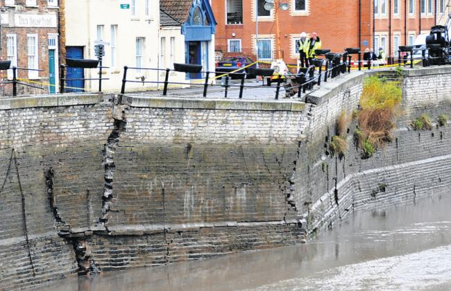 DEVASTATION: For days afterwards, more part of the wall fell into the Parrett